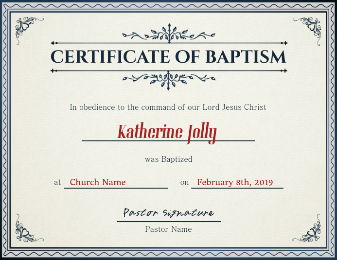 Church Certificate of Baptism