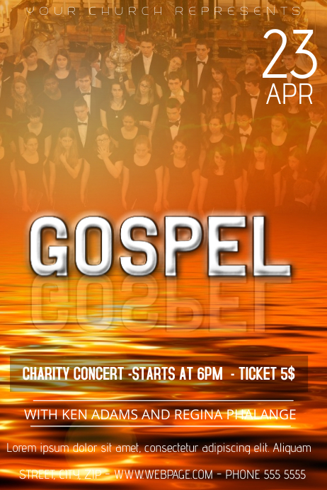 church charity gospel concert flyer template