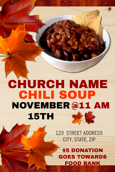 church chili dinner fundraiser template
