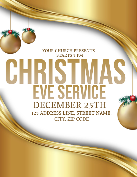 Church Christmas Eve Event Flyer Template 传单(美国信函)