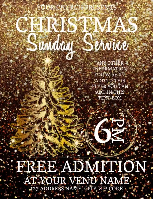Church Christmas Service Event Flyer Template
