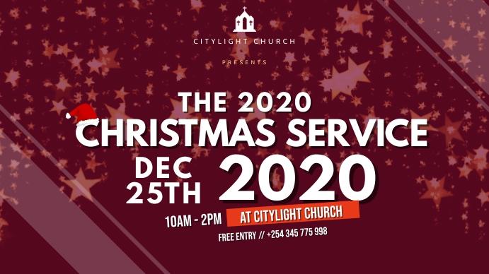 church christmas SERVICE flyer Digitalt display (16:9) template