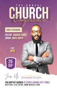 Church Conference flyer Полстраницы широкого формата template
