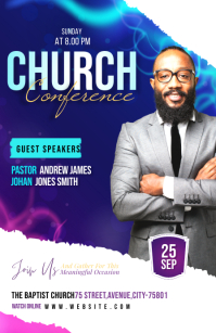 Church Conference flyer Half Page Wide template
