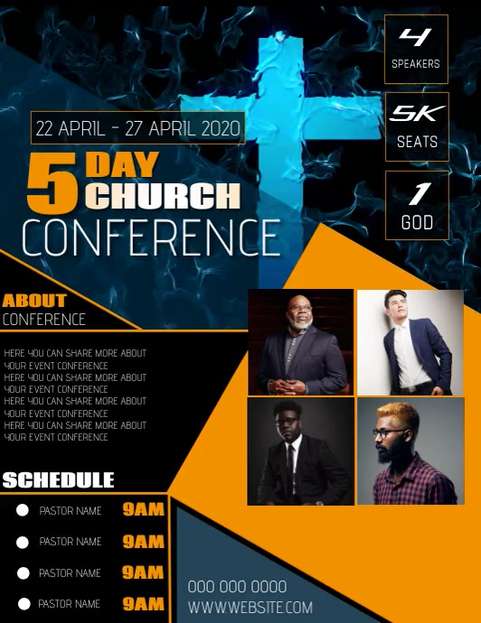 Church conference flyer template Pamflet (Letter AS)
