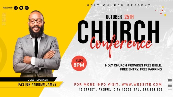 Church Conference Flyer Template Publicación de Twitter