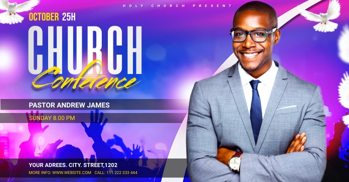 Church Conference Flyer Template Facebook 广告