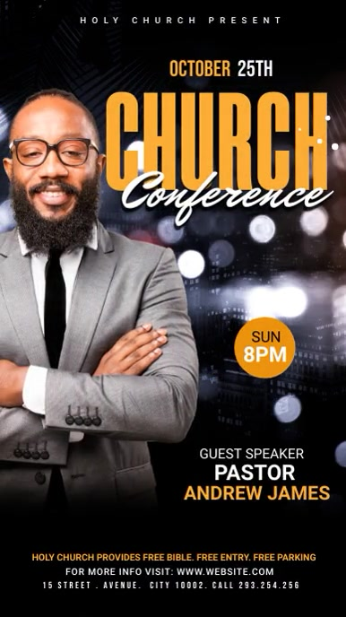 Church Conference Flyer Template Pantalla Digital (9:16)