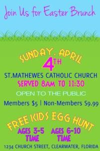 Church Easter Brunch and Easter Egg Hunt Vide Affiche template