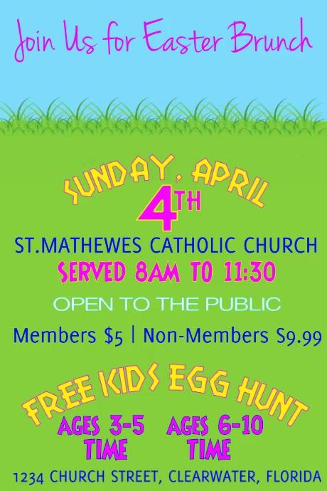 Church Easter Brunch and Easter Egg Hunt Vide Poster template