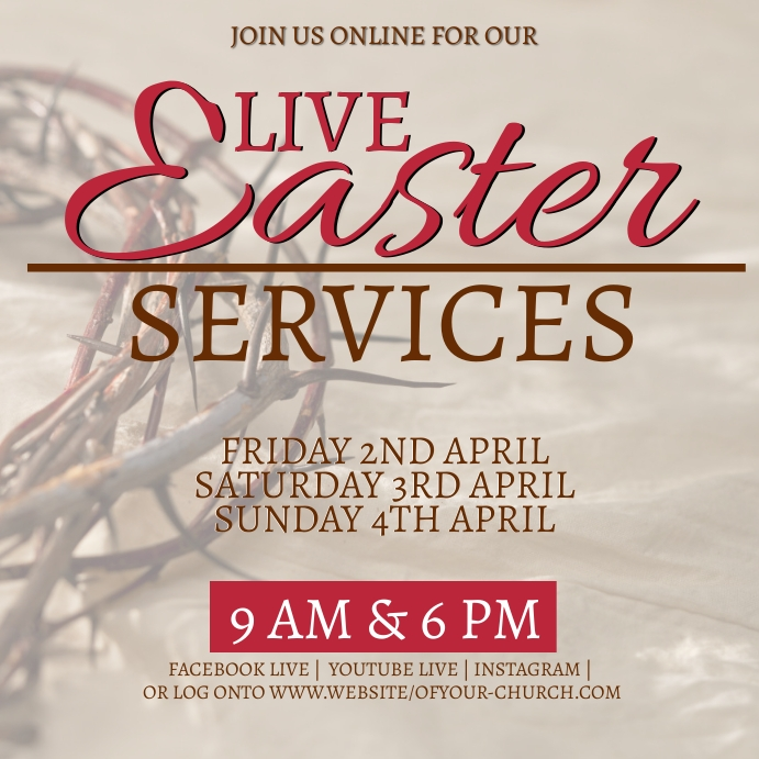 church EASTER online from home template Vierkant (1:1)