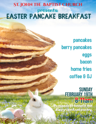 Church Easter Pancake Breakfast Fundraiser Event Flyer