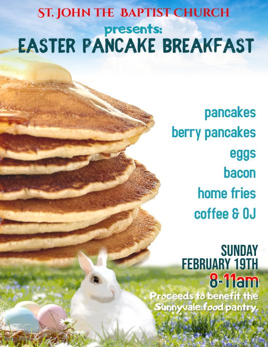 Church Easter Pancake Breakfast Fundraiser Event Flyer