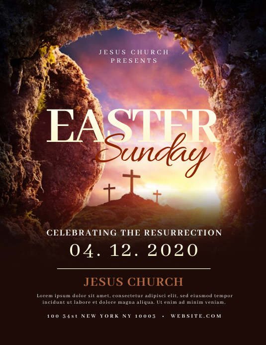 Church Easter Sunday Flyer Templates ใบปลิว (US Letter)