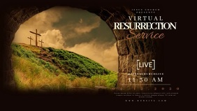 Virtual RESURRECTION Service LIVE Template Видеообложка профиля Facebook (16:9)
