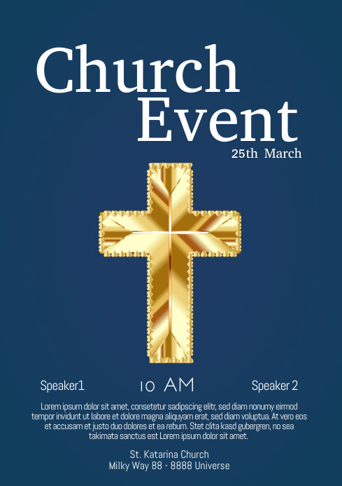 Church Event Faith Worship Invitation Cross