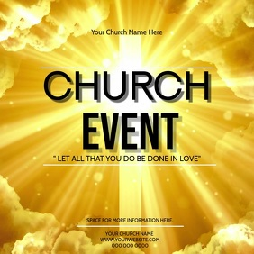 Church Event Video Digital Flyer Template Carré (1:1)