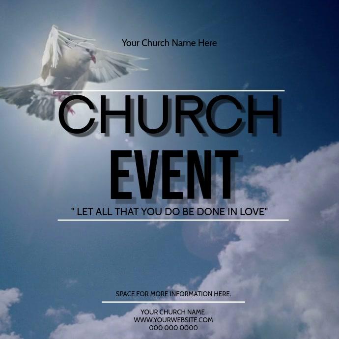 Church Event Video Digital Flyer Template Cuadrado (1:1)