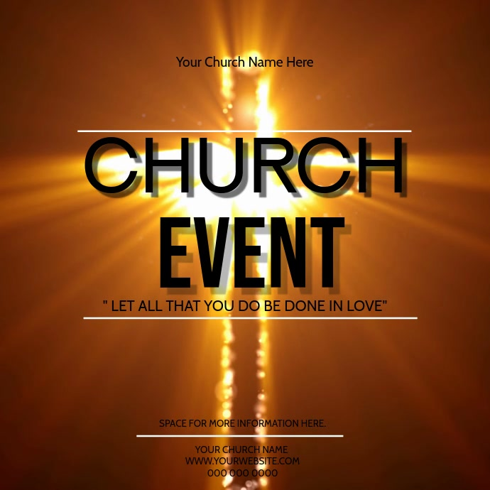 Church Event Video Digital Flyer Template Persegi (1:1)