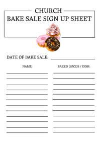 Church Fellowship Bake Sale Sign up Sheet A4 template