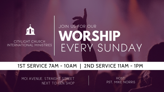 church flyer Digital na Display (16:9) template