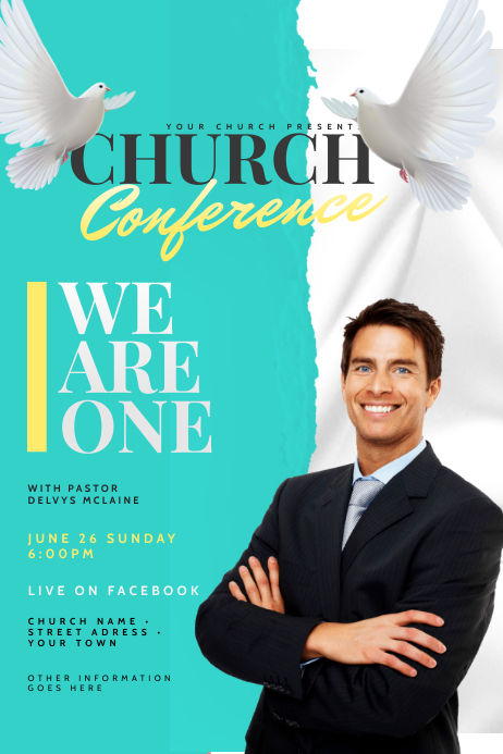 Church Flyer Template Banner 4' × 6'