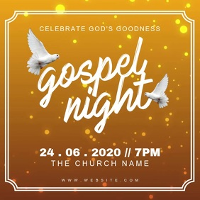 Church Gospel Night Worship Service Instagram Post template