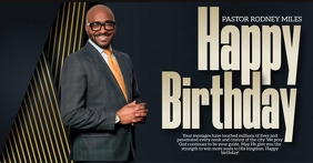 Church happy birthday pastor design template Facebook Shared Image