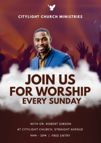 church join us for worship A3 template
