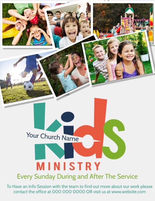 Church Kids Children's Ministry Flyer ใบปลิว (US Letter) template