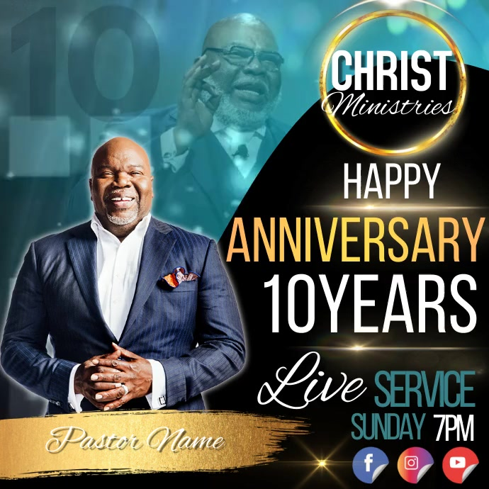 church live ANNIVERSARY service template Square (1:1)