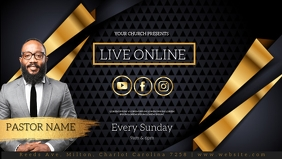 CHURCH LIVE ONLINE FROM AT HOME AD template วิดีโอหน้าปก Facebook (16:9)