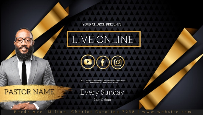 CHURCH LIVE ONLINE FROM AT HOME AD template Facebook-covervideo (16:9)