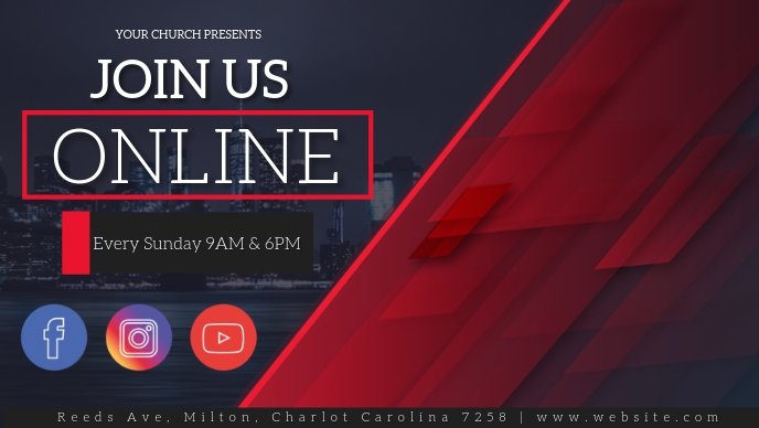 CHURCH LIVE ONLINE FROM AT HOME AD template Facebook-omslagvideo (16: 9)