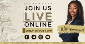 CHURCH LIVE ONLINE FROM AT HOME template Facebook Shared Image