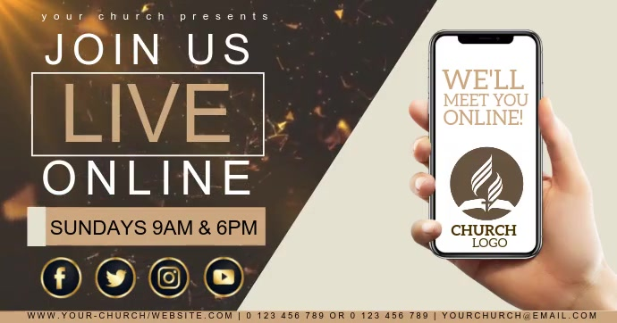 CHURCH LIVE ONLINE FROM AT HOME template Gambar Bersama Facebook