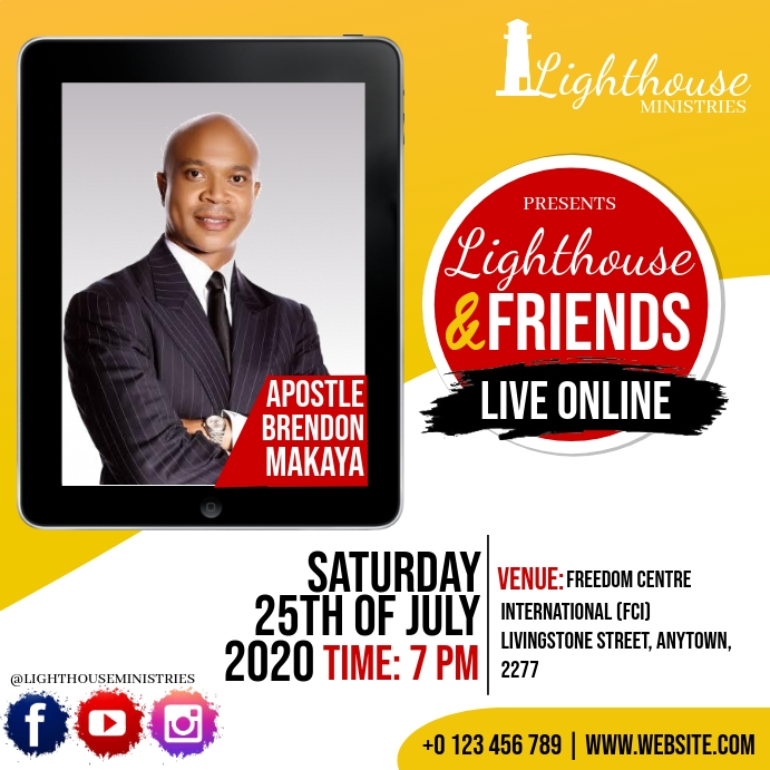 CHURCH LIVE ONLINE FROM AT HOME TEMPLATE Kwadrat (1:1)