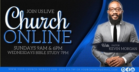 Church LIVE online from home template Facebook Shared Image