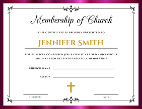 Church Membership Certificate