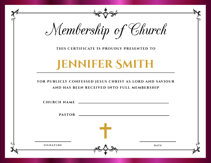 photograph about Vbs Certificate Printable identified as Church Subscription Certification Template PosterMyWall