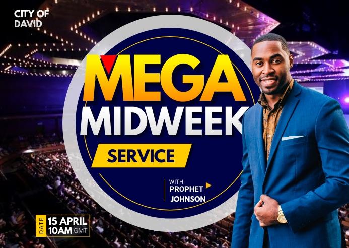 Church midweek service Postal template