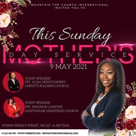 CHURCH mother's day SUNDAY SERVICE TEMPLATE Quadrado (1:1)