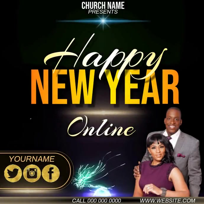 CHURCH NEW YEAR SERVICE AD TEMPLATE Wpis na Instagrama