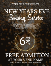 Church New Years Service Event Flyer Template