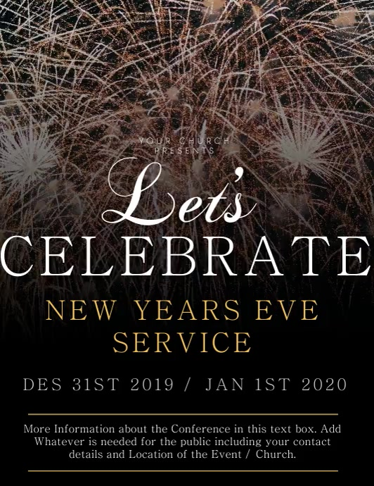 Church New Years Service Flyer Template