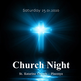 Church Night Worship Conference Service Pos Instagram template