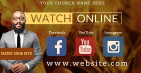 Church Online at Home Video Template Facebook Shared Image