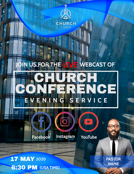 Church online from home template Flyer (Letter pang-US)