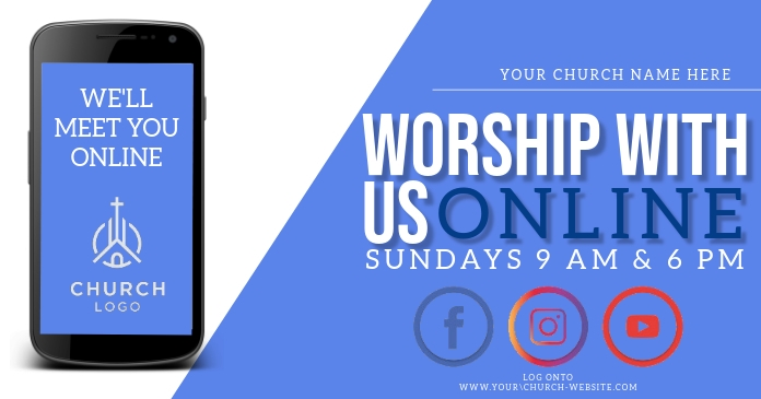 church online from home template Imagen Compartida en Facebook