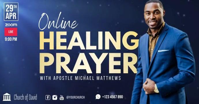 Church online healing prayer facebook ad delt Facebook-billede template
